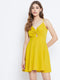 Berrylush Women Yellow Solid Front Twist Knot Dress