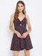 Berrylush Women Navy Blue Ditsy Floral Twist Knot Dress