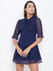 Berrylush Navy Blue Elasticated Sleeve Tie-knot Dress