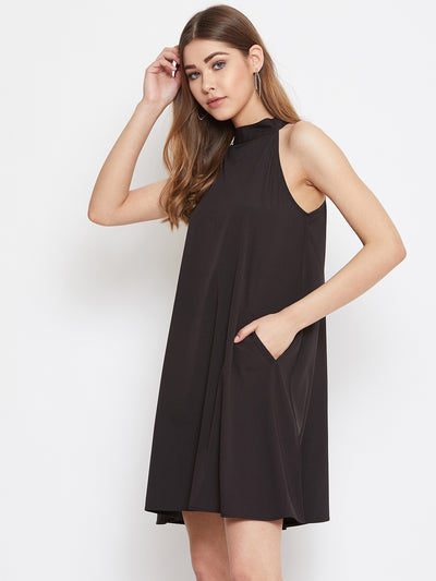 Berrylush Black Halter Neck Dress