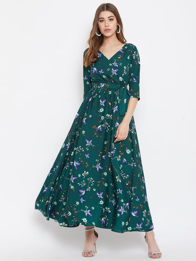Berrylush Women Green Floral Maxi Dress