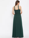 Berrylush Green Halter Neck Flared Maxi Dress