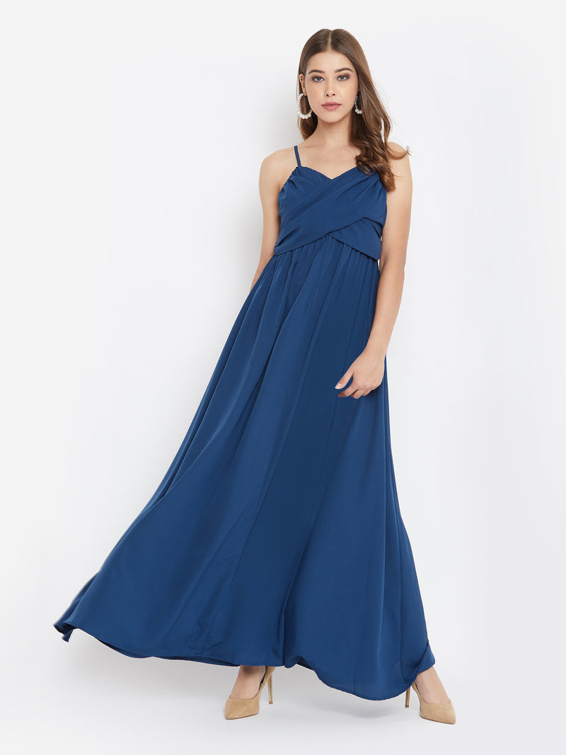 Berrylush Women Blue Solid Ruched Bust Maxi Dress