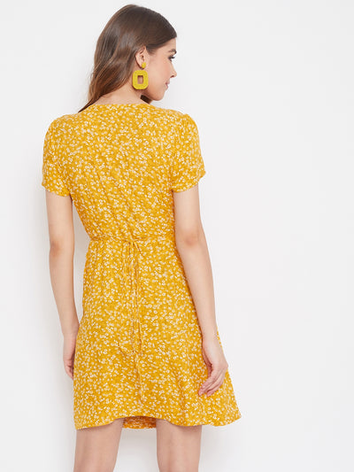 Berrylush Yellow Ditsy Floral Wrap Dress With Tulip Sleeves
