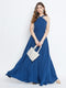 Berrylush Blue Halter Neck Flared Maxi Dress