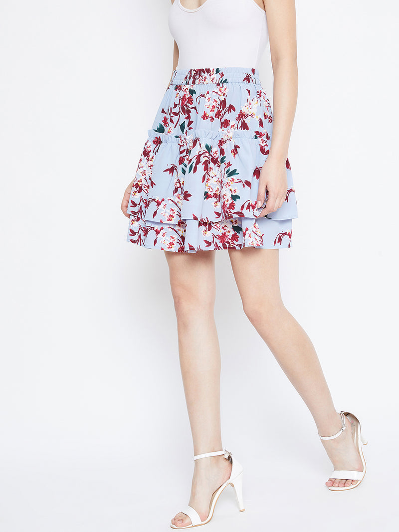 Berrylush Women Blue Floral Flared skirt