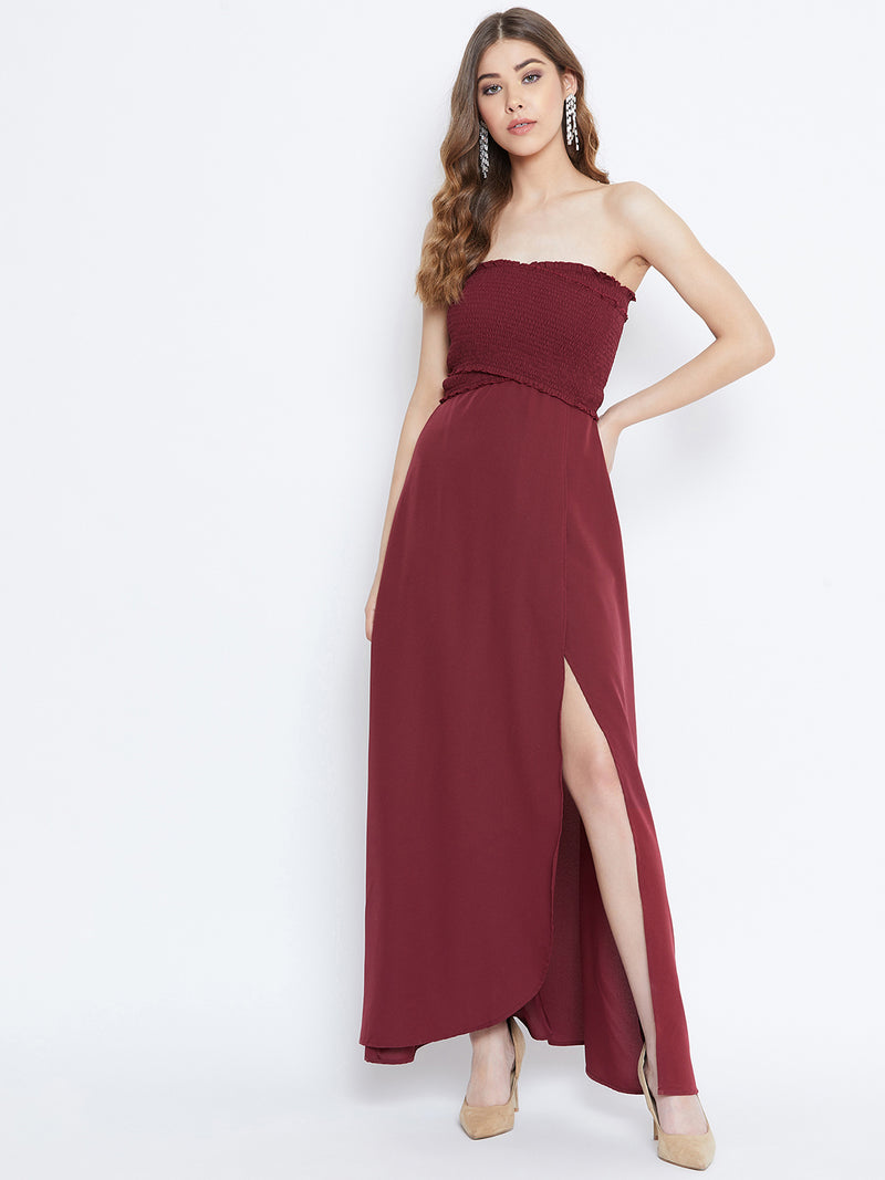 Berrylush Women Maroon Front Slit Smocked Maxi Dress