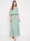 Berrylush Green Solid Off Shoulder Maxi Dress