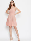 Berrylush Women Pink Solid Stylish Back Mini dress