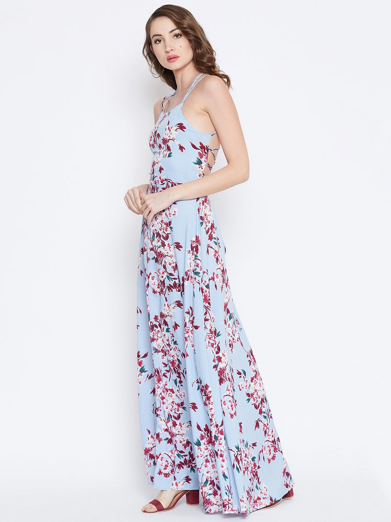 Blue Stylish Back Maxi Dress
