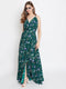 Berrylush Women Green Floral Print Flared Front Slit Shoulder Strap Maxi Dress