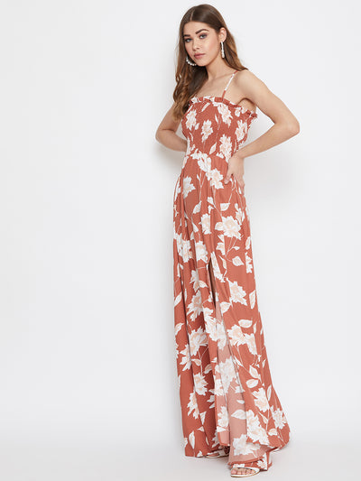 Berrylush Women Brown Floral Print Shoulder Strap Smocked Maxi Dress