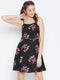 Berrylush Women Black & Red Floral Printed Fit and Flare Dress