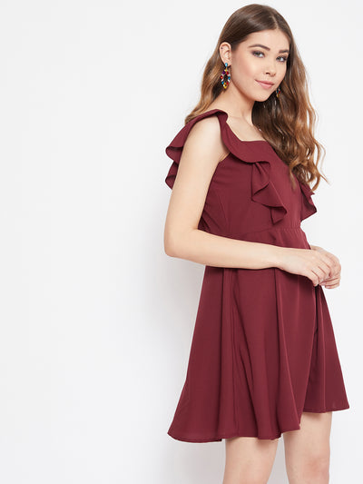 Berrylush Women Maroon Ruffle Detailed Mini Dress