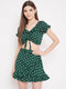 Berrylush Women Green Printed Fit and Flare Dress