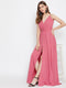 Berrylush Blush Pink Stylish Flaired Front Slit Shoulder Strap Maxi Dress