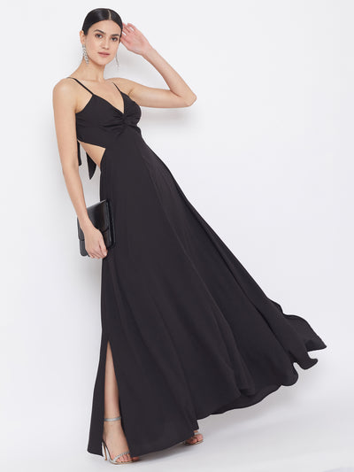 Berrylush Strappy V- Neck Black Solid Maxi Dress