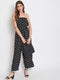 Berrylush Strapless off Shoulder Black Polka Dot Print Jumpsuit