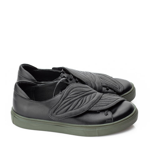 "Mihaela Glavan, Black ""Hug Leaves"" Sneakers  Snk099K . 489"