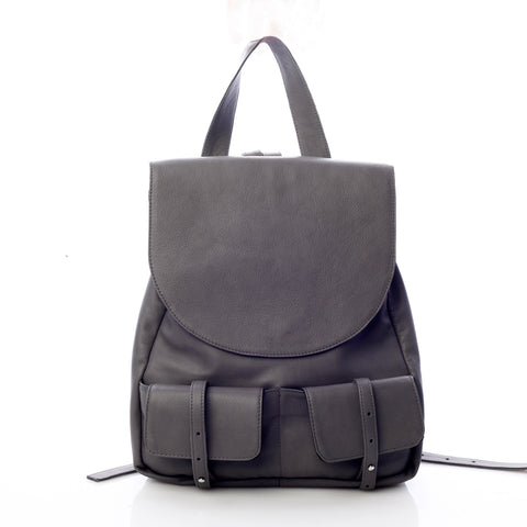 Mihaela Glavan, Gray Leather Backpack 404