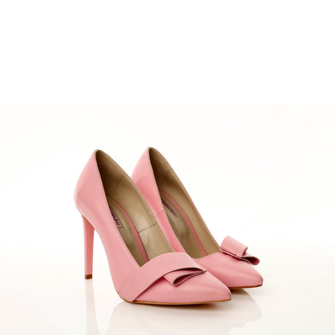 Mihaela Glavan, Pink Leather TWISTED BOW  Pumps P580 . 70