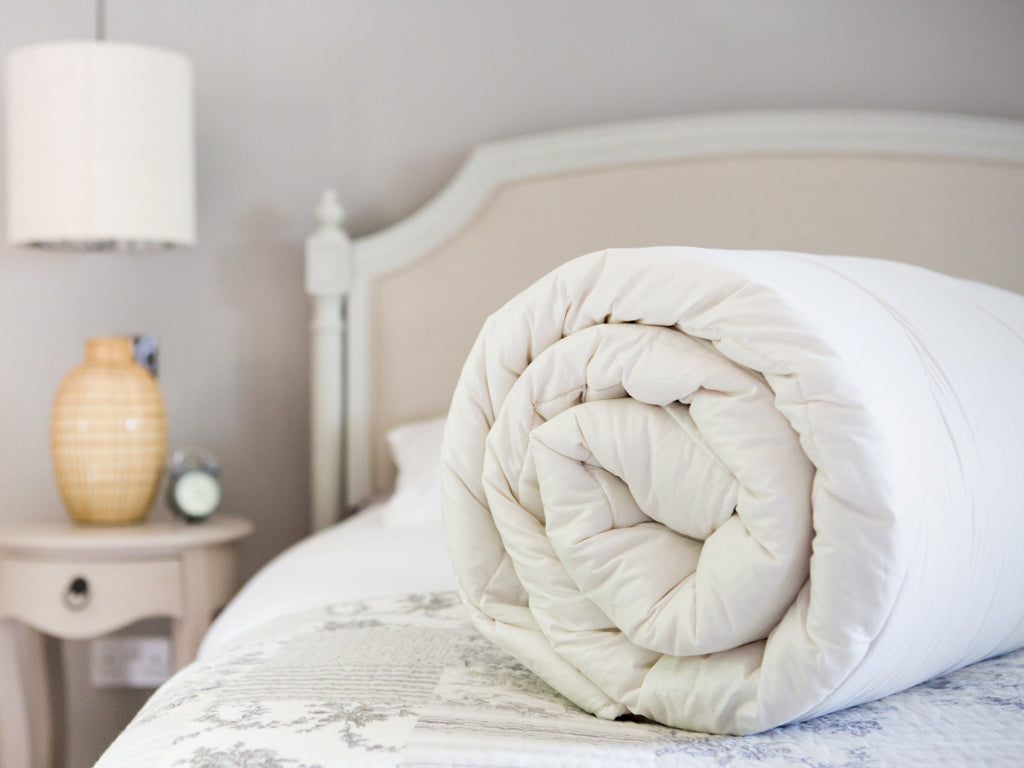 Pure, natural wool duvets which are manufactured in the UK using British, organic wool.