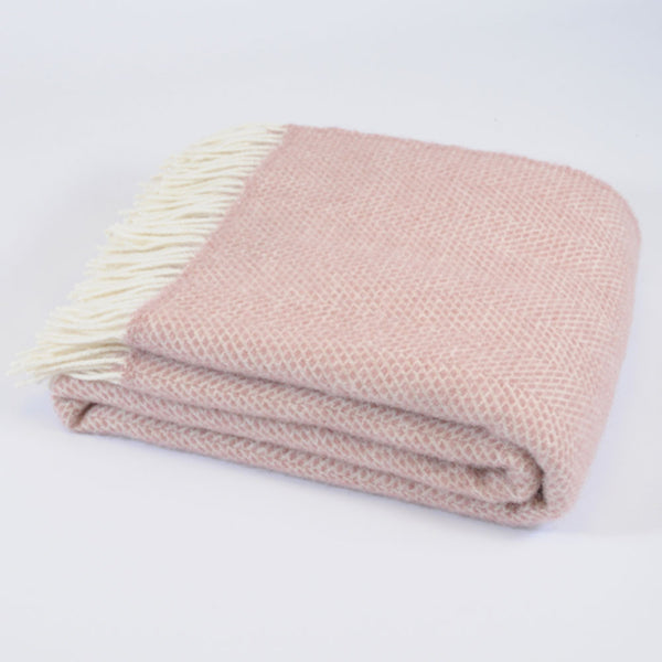 Beehive Dusky Pink wool throw