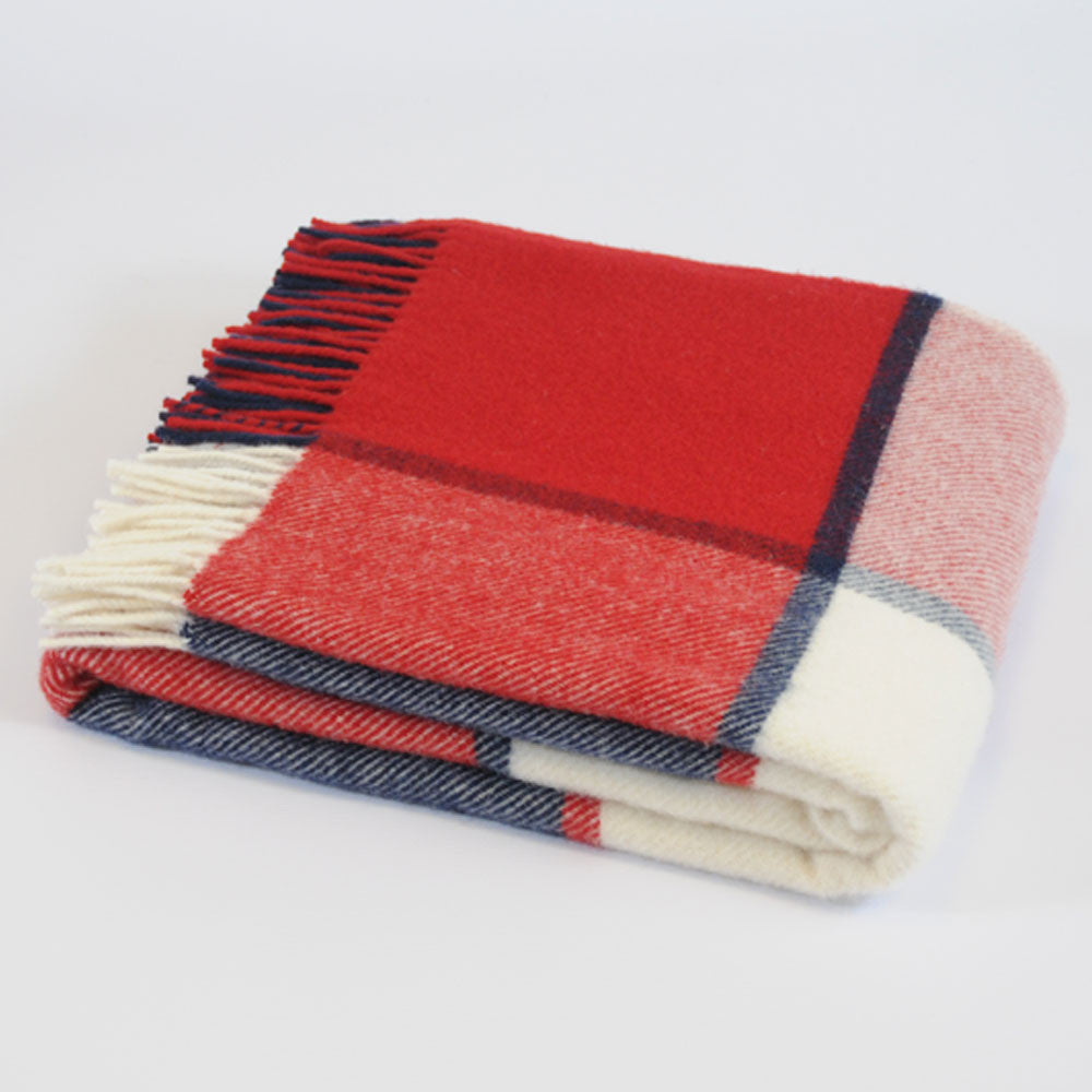 Block Check Red & Navy & Cream wool throw