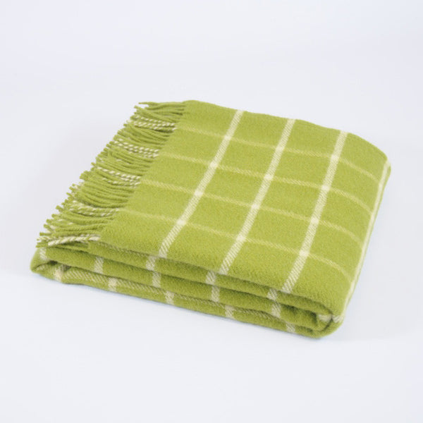 Chequered Check Avocado wool throw