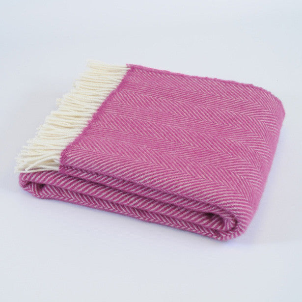 Fishbone Cerise wool throw