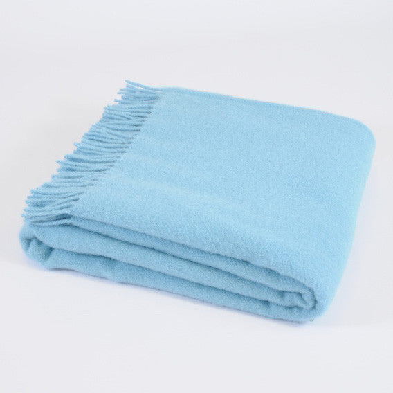 Plain Weave Sky Blue wool throw