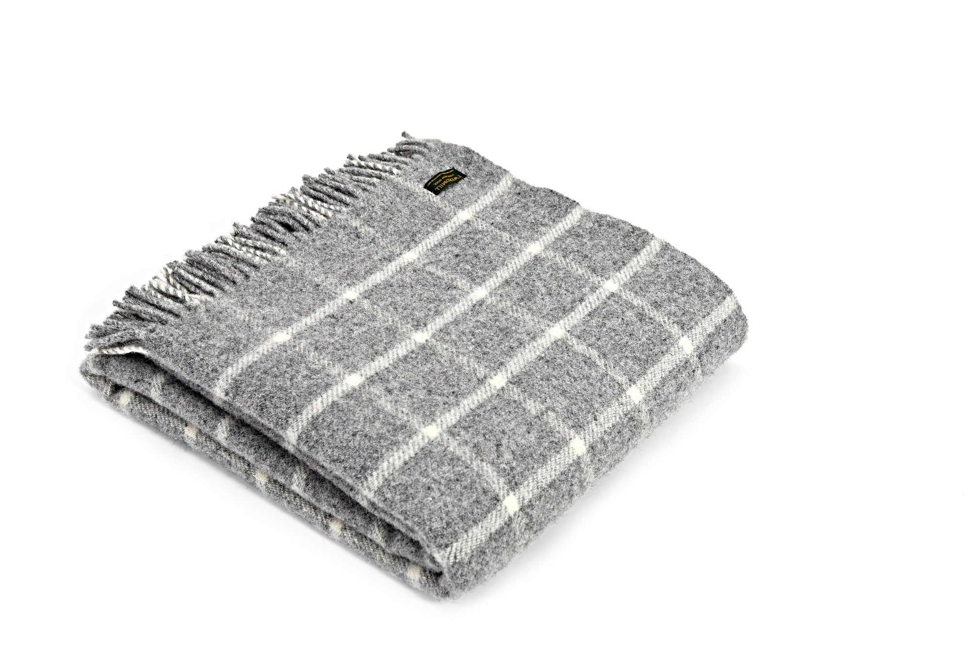 Tweedmill Chequered Check Grey pure wool throw