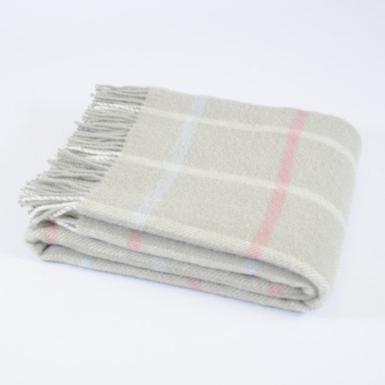 Windowpane Putty wool throw