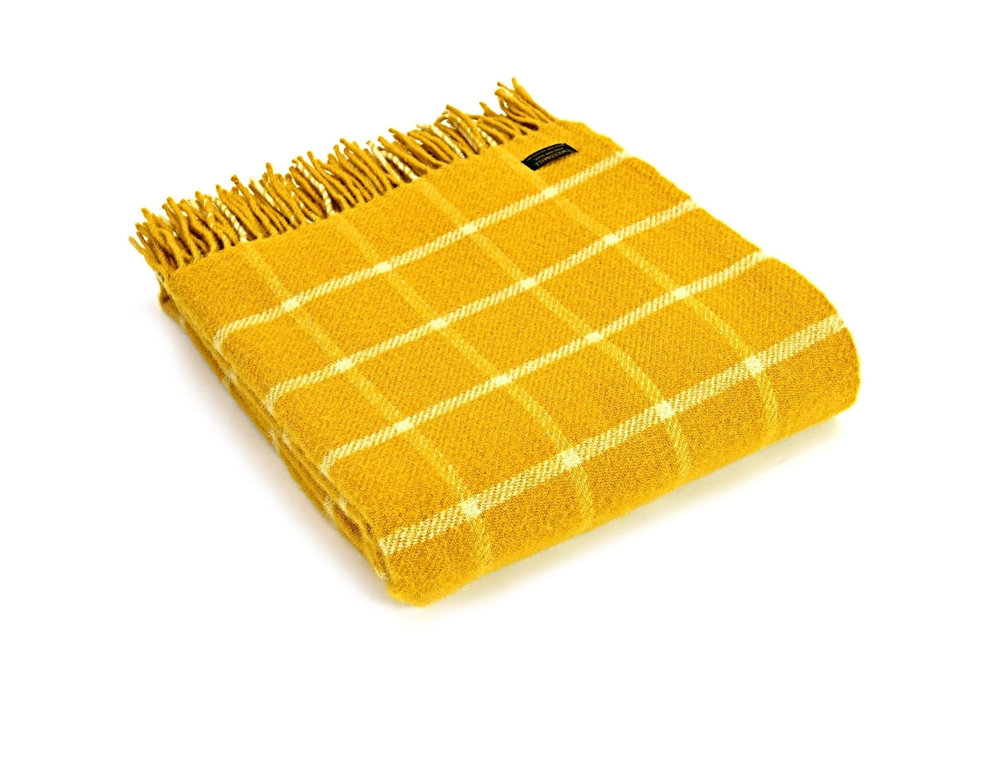 Tweedmill Chequered Check Yellow pure wool throw - Urban Wool