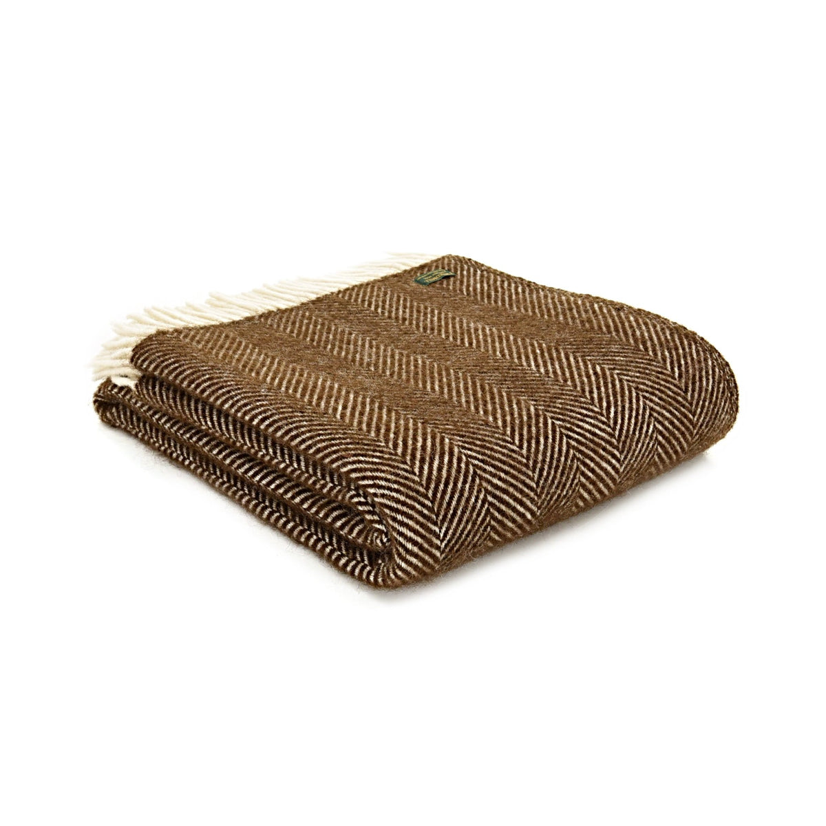 Tweedmill Fishbone Chocolate Brown pure wool throw - Urban Wool
