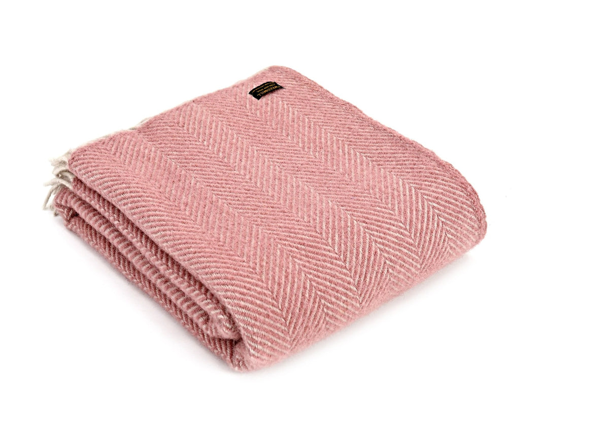 Tweedmill Fishbone Dusky Pink pure wool throw - Urban Wool