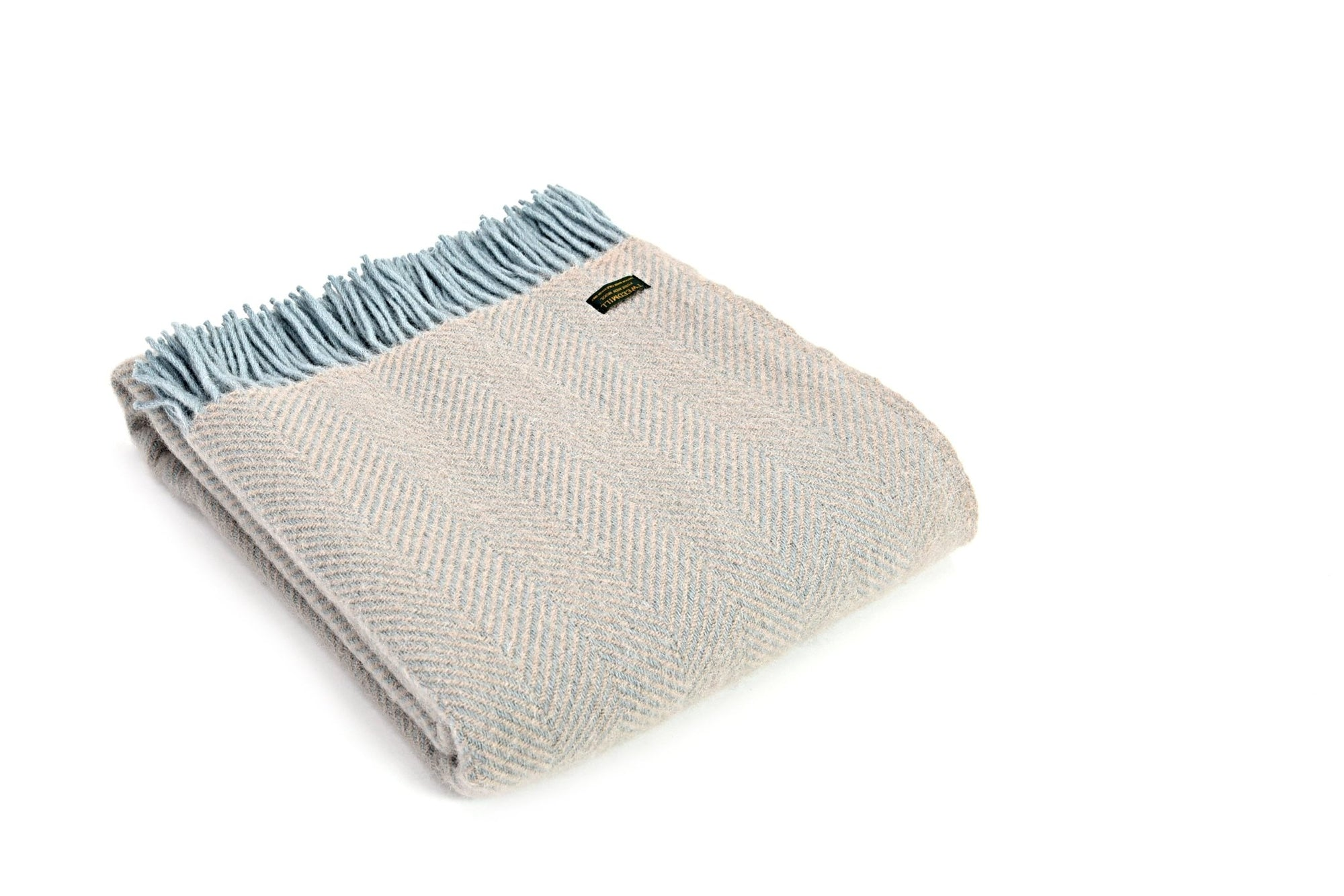 Tweedmill Herringbone Fawn & Duck Egg pure wool throw - Urban Wool
