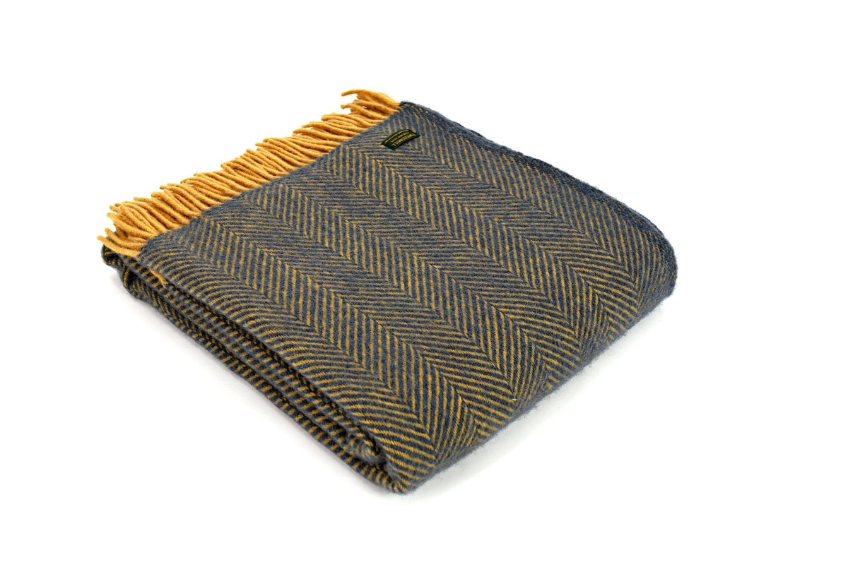 Tweedmill Herringbone Navy & Mustard pure wool throw - Urban Wool