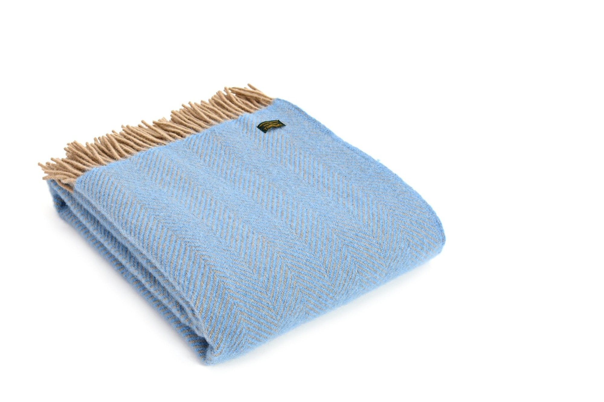 Tweedmill Herringbone Sea Blue & Beige pure wool throw - Urban Wool