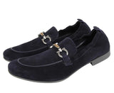 Salvatore Ferragamo Men's Celso Dark Blue Suede Stretch Horsebit Loafer 0689525 (8.5 EEE) - LUX LAIR