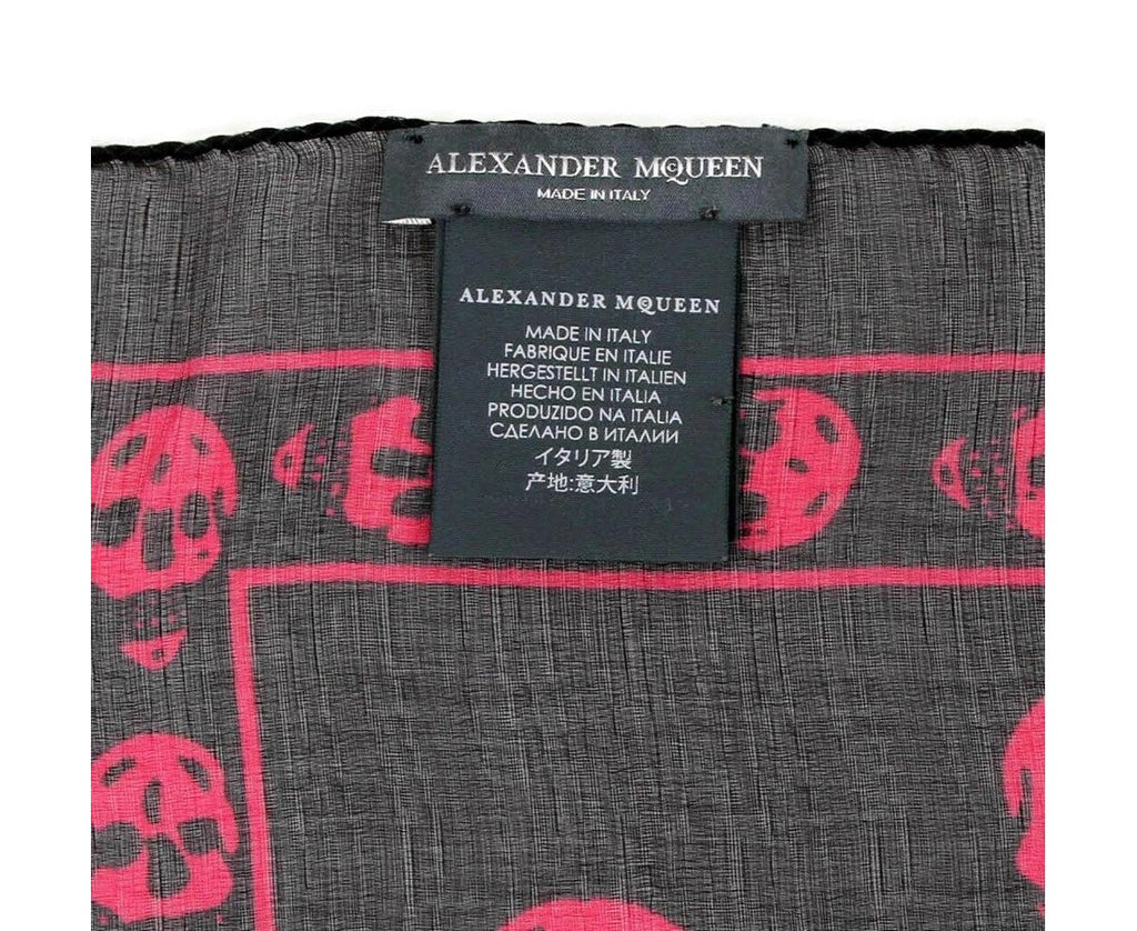 Alexander McQueen Scarf Black Chiffon Silk - AM Tags