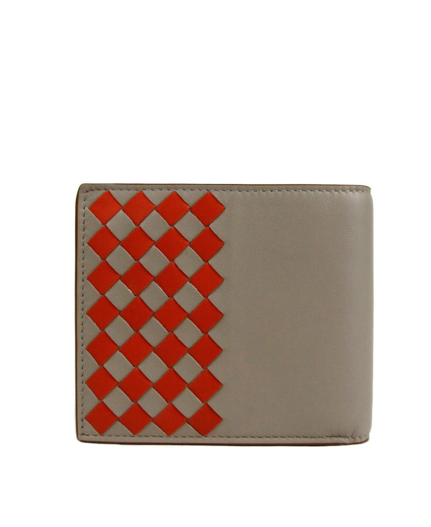 Bottega Veneta Bi-fold Wallet Gray / Brown Leather