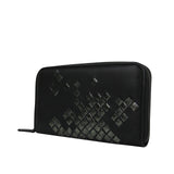 Bottega Veneta Women's Zip Around Black Leather Woven Wallet 114076 1160