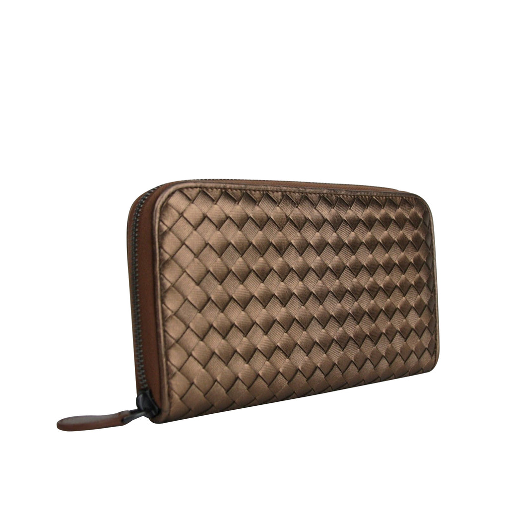Bottega Veneta Women's Zip Around Copper Metallic Leather Wallet 114076 2546 - LUX LAIR