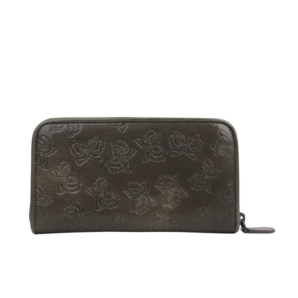 Bottega Veneta Women's Butterfly Imprint Brown Leather Wallet 132358 2905