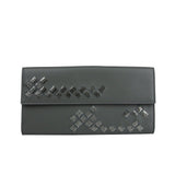 Bottega Veneta Long Wallet Intercciaco Gray Leather