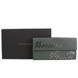 Bottega Veneta Long Wallet Dark Gray Leather