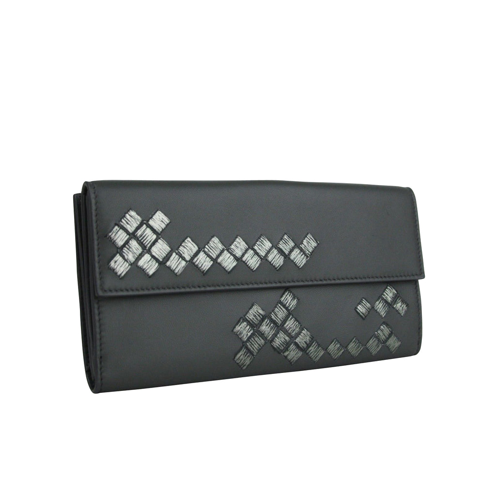 Bottega Veneta Long Wallet Gray Leather For Women