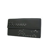 Bottega Veneta Long Wallet Gray Leather - Front Look