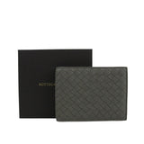 Bottega Veneta Men's Intercciaco Gray Leather Woven Bifold Wallet 148324 1300 - LUX LAIR